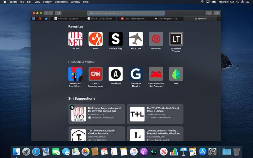 Safari Favorites page on macOS Catalina.