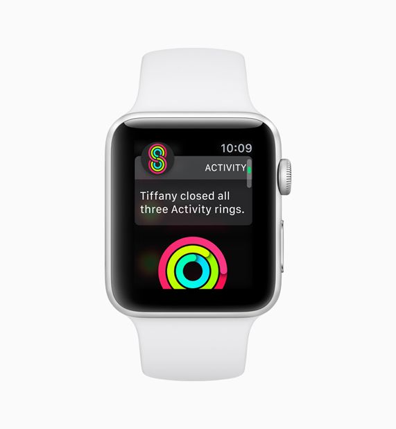 Apple Watch screen displaying the new Activity Rings software