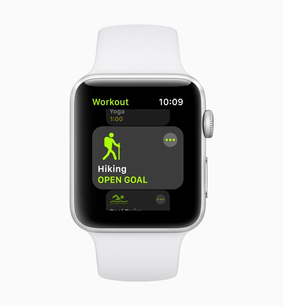 New hiking workout screen displayed on white Apple Watch