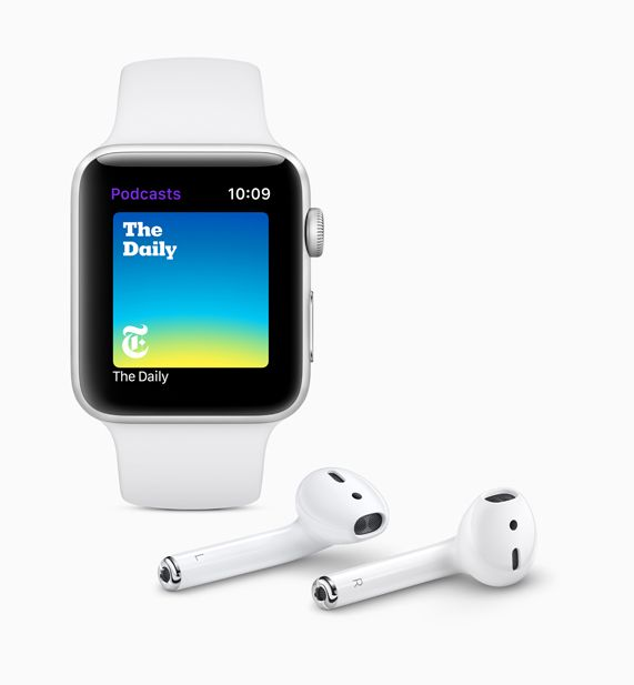 Apple Watch displaying the new Apple Podcasts app screen