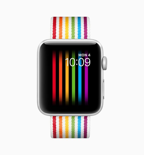 Apple Watch featuring a new rainbow pride band
