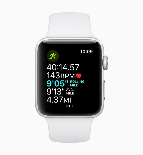 Apple Watch displaying the rolling last mile pace feature