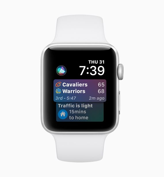 Apple Watch displaying new Siri sports scores and Maps app on screen