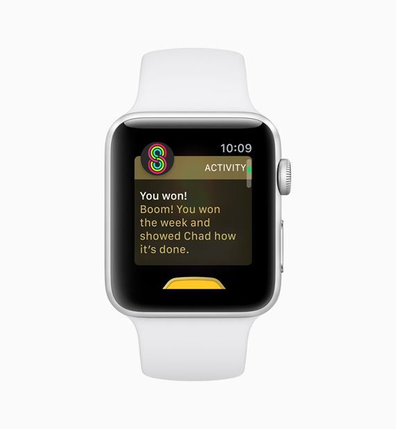 An Apple Watch displaying the screen from a user winning an activity Sharing competition
