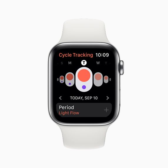 The new Cycle Tracking app on Apple Watch Series 5.