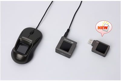 Figure 2: Models in the PalmSecure-SL Sensor line. From left to right: Mouse with built-in sensor, standard sensor, portable sensor.
