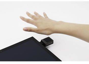 Figure 3: The sensor being used with a tablet