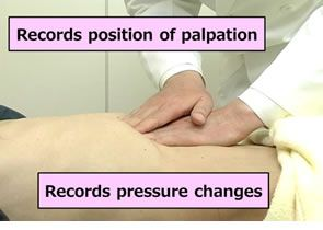 Figure 1: A Kampo doctor performing a palpation