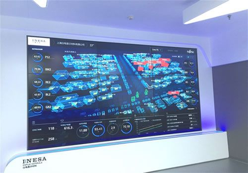 Figure: The Intelligent Dashboard visualizing the operational status of production lines for the entire factory (Location: Central monitoring room in INESA Display Materials Co., Ltd.'s color-filter manufacturing plant).