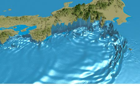 Figure 1: Tsunami simulation for a major earthquake in the Nankai Trough