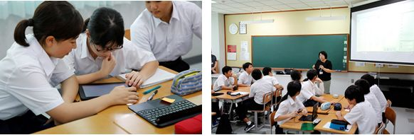 """Left: Tablets in use in the classroom , Right: Student opinions collected through """"Chietama"""" are presented on screen"""