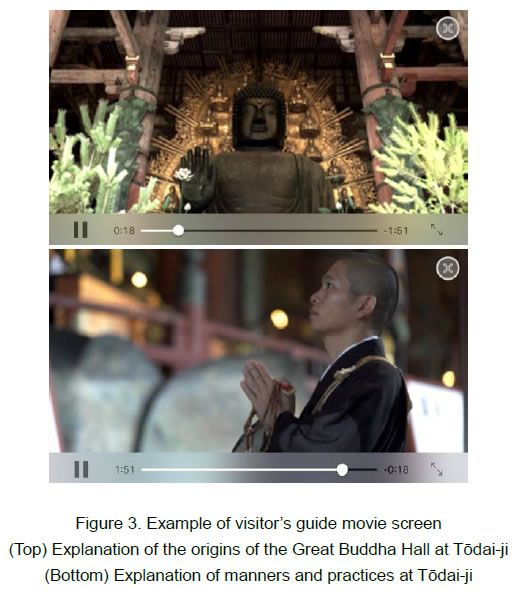 [image]Figure 3. Example of visitor's guide movie screen(Top) Explanation of the origins of the Great Buddha Hall at Todai-ji (Bottom) Explanation of manners and practices at Todai-ji