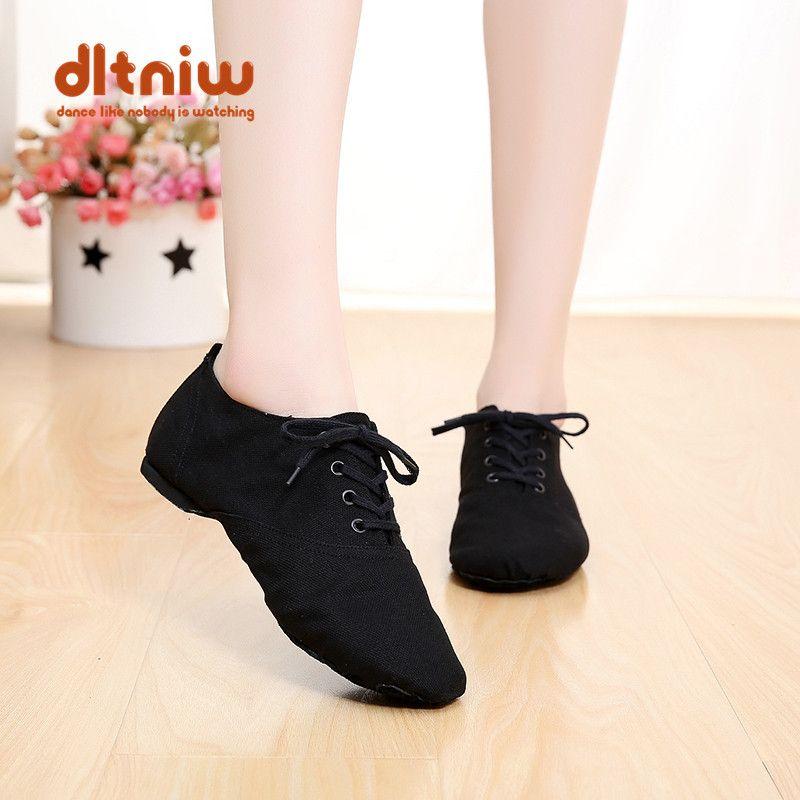 Coupons femme chaussures à lacets femme toile danse chaussure Ballet Pointe baskets pour femmes hommes femmes toile danse Jazz chaussures