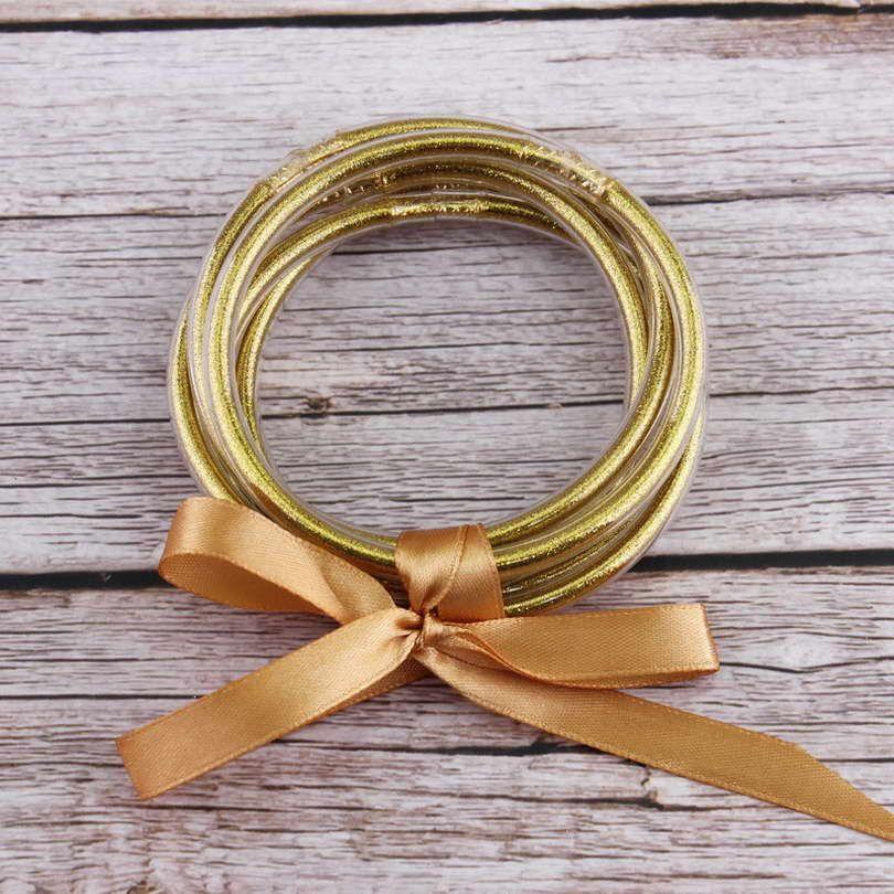 5 pièces/ensemble ZWPON Bowknot or argent paillettes bracelets ensemble 2019 tous temps pile Silicone plastique paillettes gelée bracelets en gros