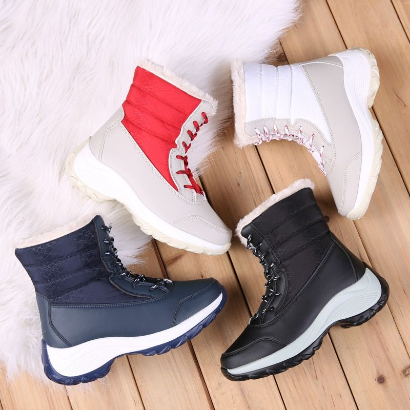 ASUMER 2020 nouveau hiver bottes de neige femmes bout rond à lacets dames bottines couleurs mélangées garder au chaud plate-forme bottes grande taille