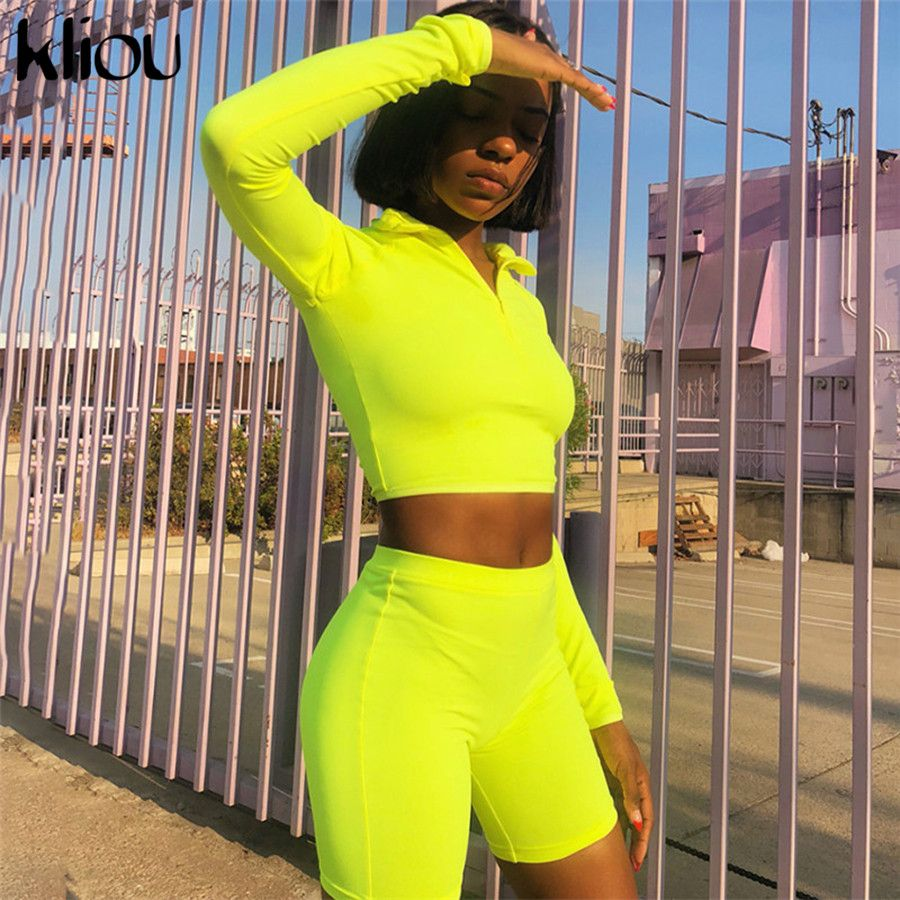 Kliou nouvelle femme Fluorescence Fitness deux pièces ensembles 2018 automne manches complètes Zipper col roulé hauts et taille haute Shorts costumes