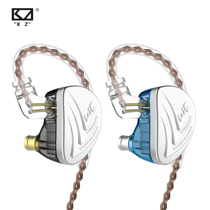 KZ AS16 8BA Fahrer Einheit In Ohr Kopfhörer 8 Ausgewogene Anker HIFI Monitor Auflösung IEM Abnehmbare 2Pin Kabel CCA C16 c10 TRN X6