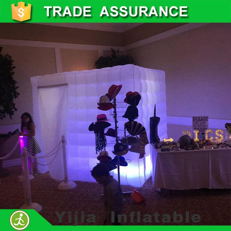 Heißer verkauf freies verschiffen aufblasbaren würfel zelt led photo booth gehäuse mit fan
