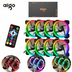 AIGO DR12 PC Cooler Computer Case Fan LED 120mm Fan Cooling dual halo multiple change mode RGB Fan.