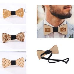 Fashion Wooden Bowtie Men Formal Necktie Boy Men's Accessory Wedding Party Christmas Gifts Bamboo Neck Wear For Men Women Cravat