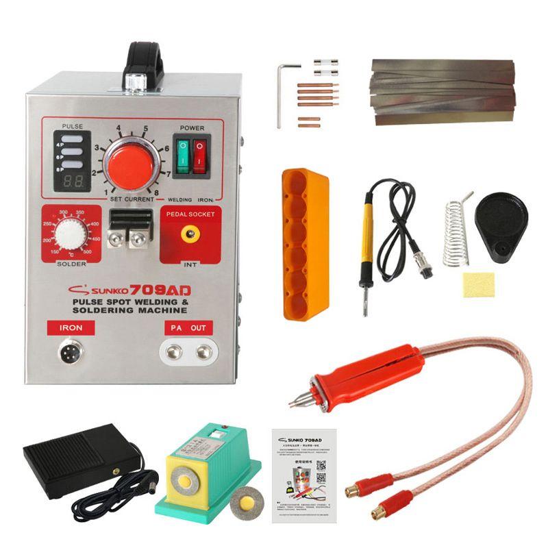 SUNKKO 709AD Spot Schweißer Maschine 2.2KW Automatische Puls 18650 Batterie Spot Schweißer Maschine Für Präzision Schweißen Von Batterie Packs