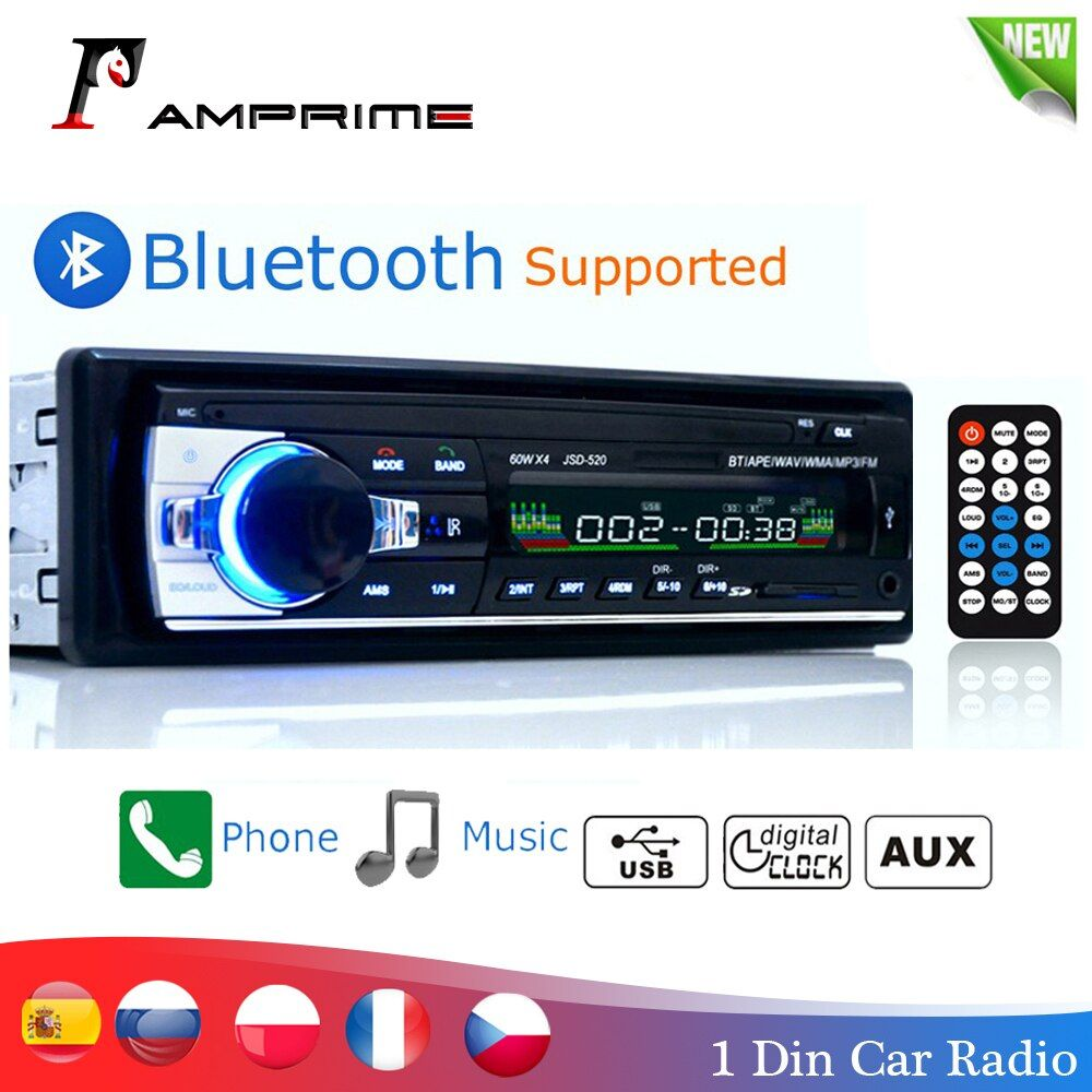 AMPrime Bluetooth Autoradio Car Stereo Radio FM Aux Input Receiver SD USB JSD-520 12V In-dash 1 din Car MP3 Multimedia Player