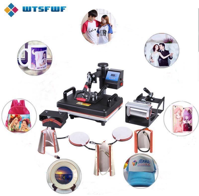 Livraison gratuite Wtsfwf 30*38CM 8 en 1 Machine de presse à chaud combinée 2D imprimante de transfert thermique pour l'impression de T-shirts de plaque de tasse de chapeau