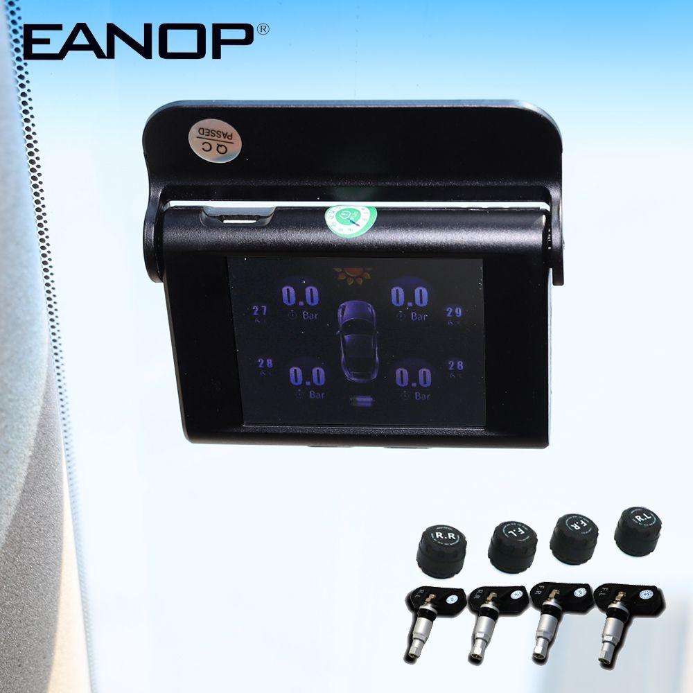 EANOP S368 TPMS Solaire 2.4 pouces Système de Surveillance De Pression De Pneu de Voiture 4 pièces Interne Externe Capteurs D'alarme Pour Les Voitures Universelles