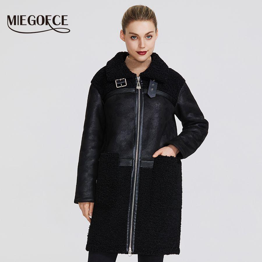 MIEGOFCE2019 Neue Winter Frauen Sammlung Faux Pelz Jacke Design Frauen Schaffell Mantel Knie Länge Winddicht Beständig Kragen Pelz