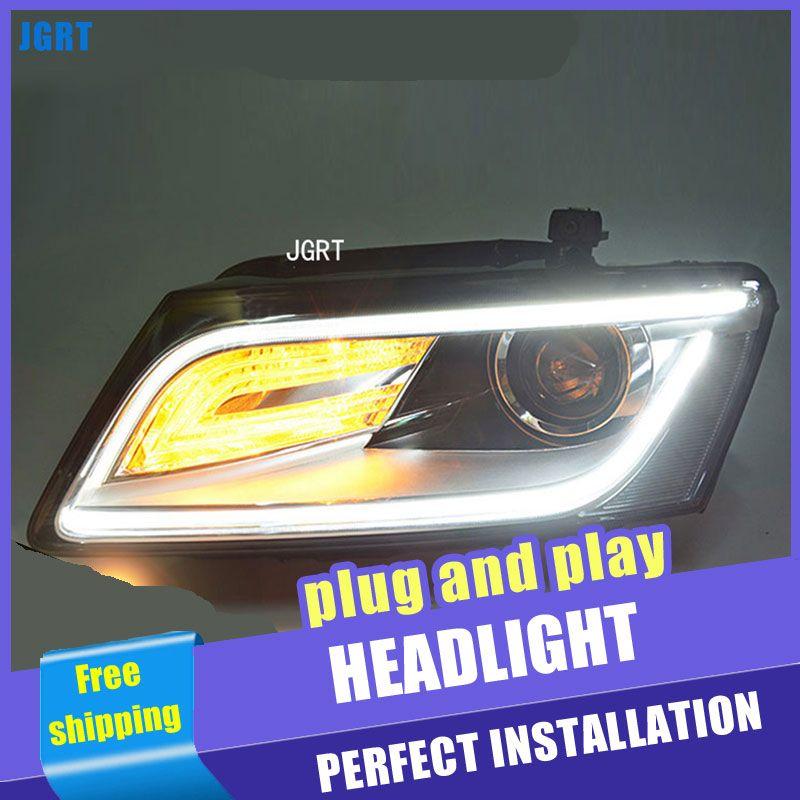 2PCS Auto Stil LED scheinwerfer fo Audi Q5 2009-2017 für Q5 kopf lampe LED DRL Objektiv Doppel strahl H7 HID-Xenon-bi-xenon-objektiv