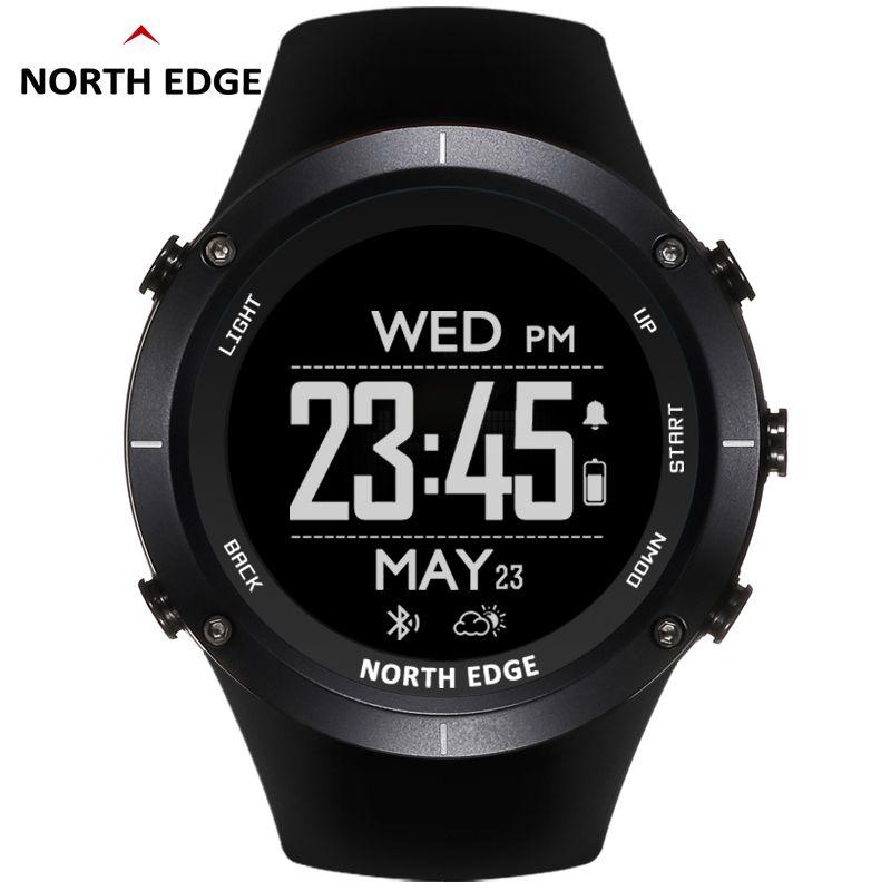 NORTH EDGE hommes montre de sport altimètre baromètre thermomètre boussole moniteur de fréquence cardiaque podomètre numérique course montre d'escalade