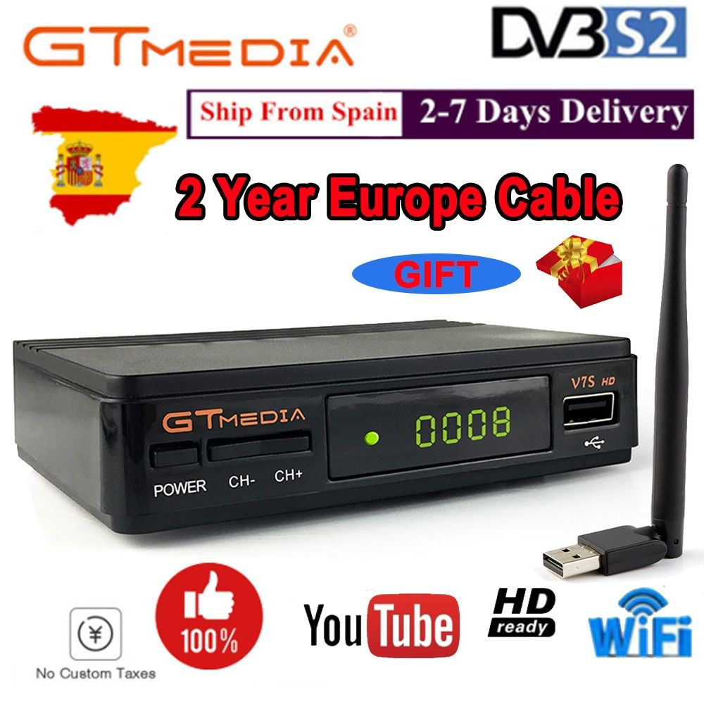 Récepteur Satellite GTmedia V7S HD DVB-S2 décodeur de télévision par Satellite Full HD récepteur de télévision par Satellite GTmedia V7S HD avec USB WiFi gratuit