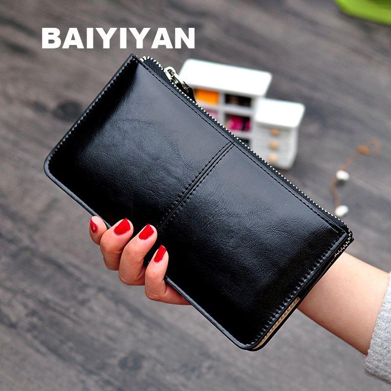 Vintage femmes huile cire cuir fermeture éclair pochette portefeuille femme sac à main dames multi-fonction Simple porte-monnaie