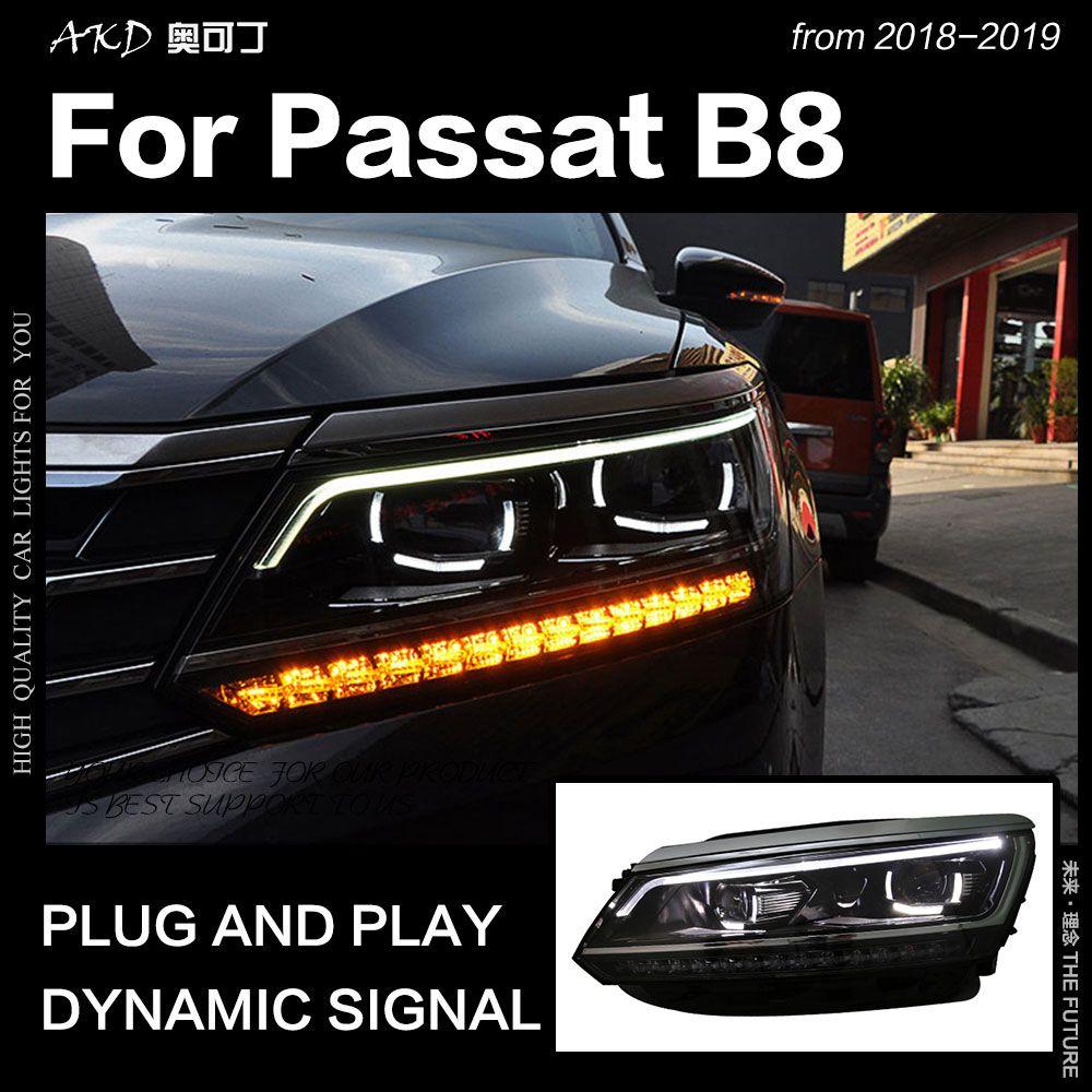 AKD Auto Styling für VW Passat B8 Scheinwerfer 2017-2018 UNS Version LED Scheinwerfer DRL Hid Kopf Lampe Engel auge Bi Xenon Zubehör