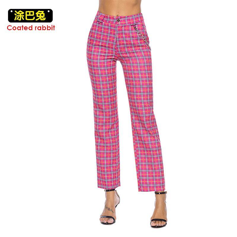 CR Plaid Peg pantalon rose taille moyenne pantalon bouton mouche ample recadrée femme décontracté poches pantalon Streetwear