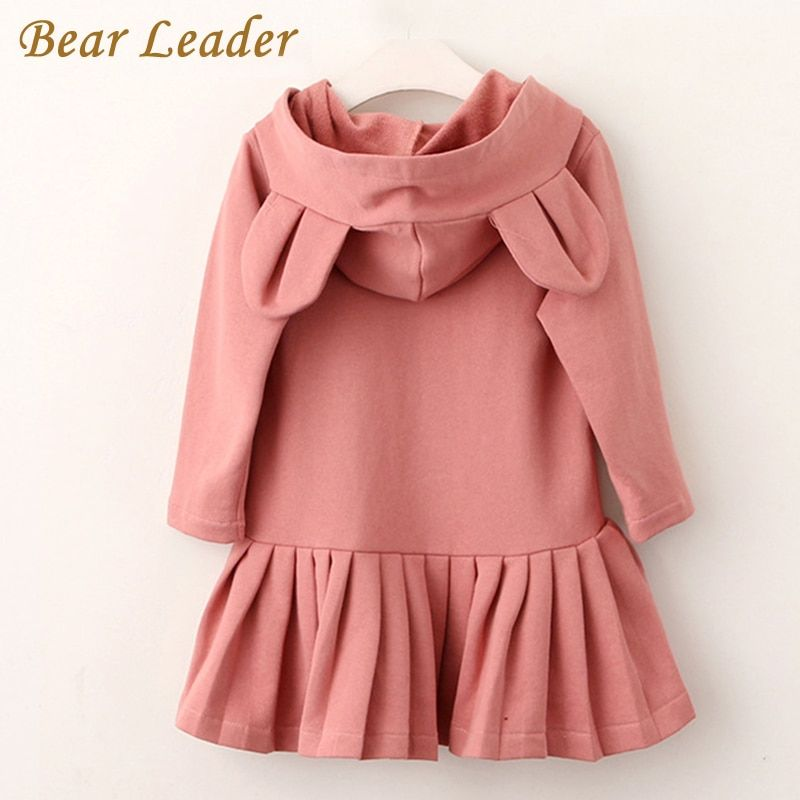 Ours Leader filles robe nouvelle marque bébé filles Blouse oreilles de lapin à capuche froncé à manches longues enfants vêtements robe filles vêtements
