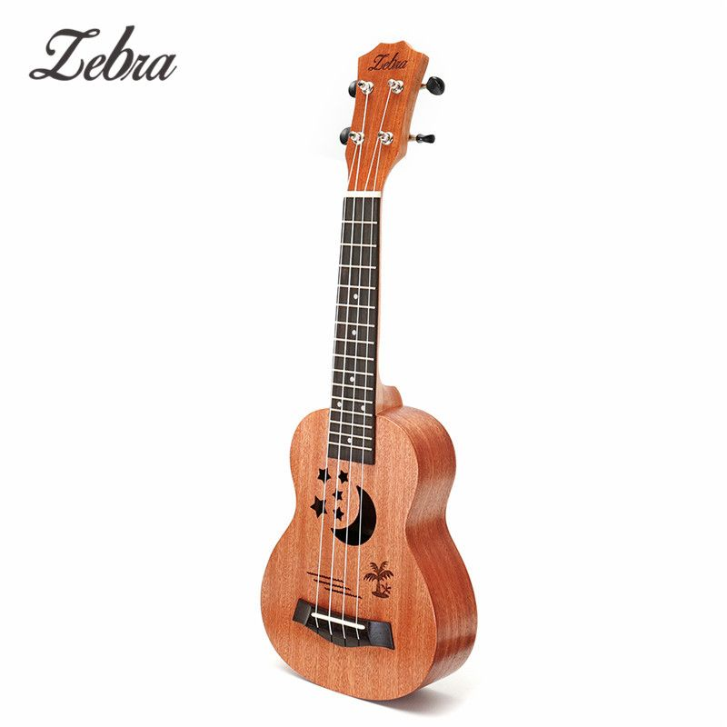 Zèbre 21 Sapele motif étoile ukulélé 4 cordes Nylon Hawaii Mini guitare Uke touche palissandre Ukelele Instruments de musique