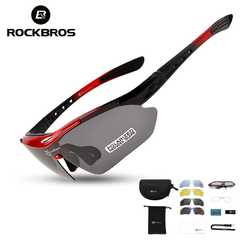 RockBros Polarized Cycling Sun Glasses Outdoor Sports Bicycle Glasses Men Women Bike Sunglasses 29g Goggles Eyewear 5/3 Lens