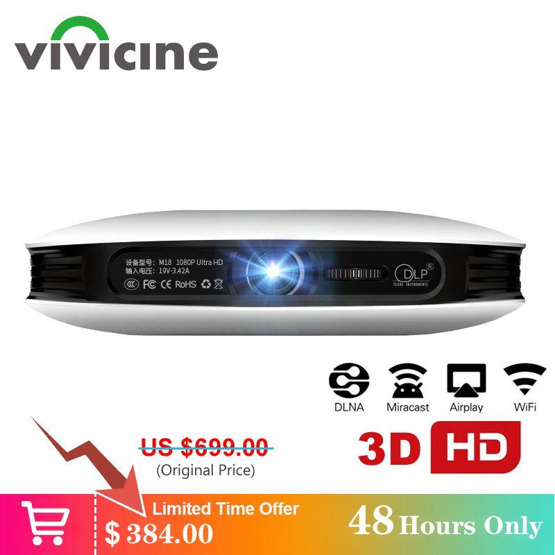 Vivicine 1080p 3D 4K Projektor, android WIFI HDMI USB Full HD Mini PC Spiel Heimkino Kino Proyector 12000 mAh Batterie Beamer