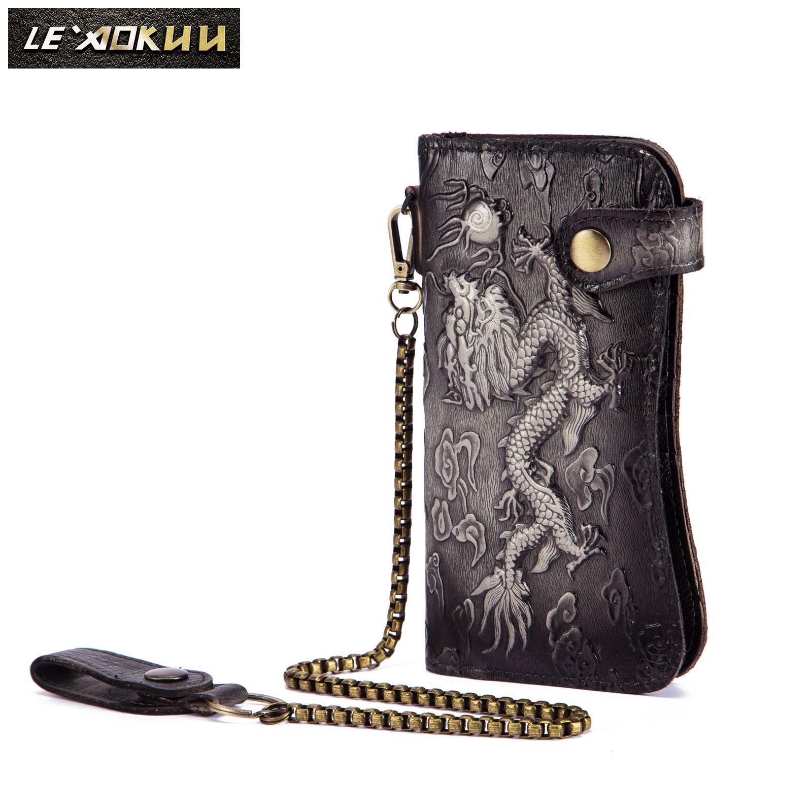 Cattle Male Organizal Real leather Design Dargon Tiger Emboss Checkbook Iron Chain Wallet Purse Clutch Handbag N1088