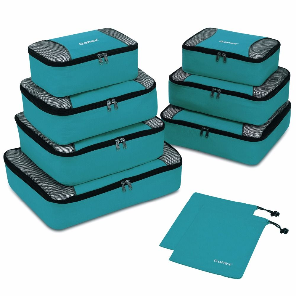 Gonex 9 pièces/ensemble sac de rangement de voyage valise organisateur de bagages suspendus Ziplock placard garde-robe vêtements Compression emballage Cubes