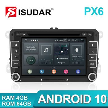 Isudar 2 Din Android 10 Radio For VW/Golf/Tiguan/Skoda/Fabia/Rapid/Seat/Leon Canbus Car Multimedia Player Automotivo GPS DVD DSP