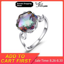 Jewelrypalace 3.2ct Asli Pelangi Api Mystic Topaz Kuarsa Cincin 925 Sterling Silver Cincin Batu Permata Cincin Fine Perhiasan untuk Wanita