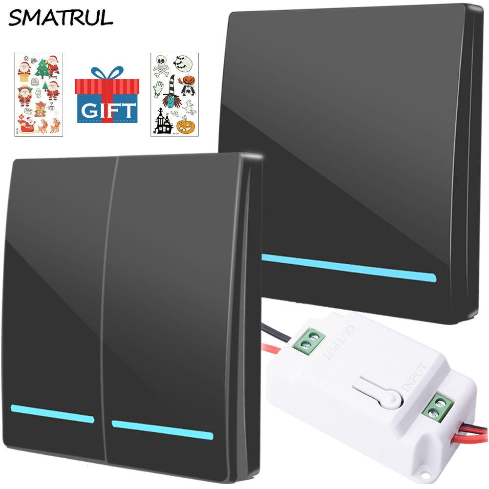 SMATRUL gros 433Mhz smart push sans fil interrupteur lumière RF télécommande AC 110V 220V récepteur mur panneau bouton plafonnier