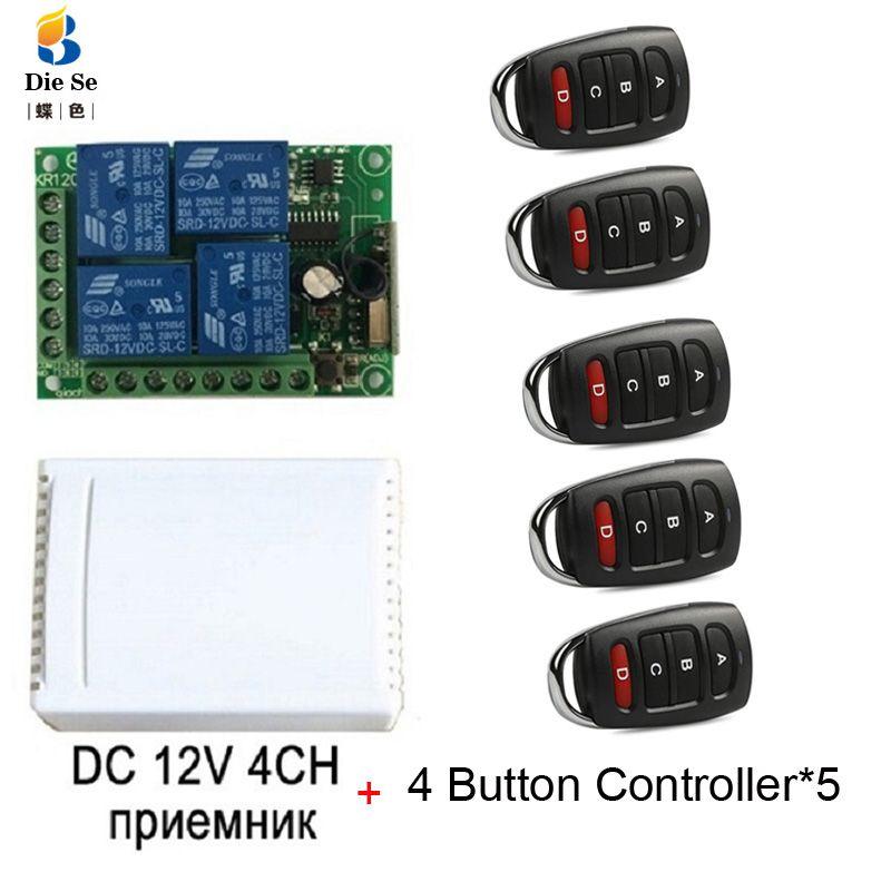 433MHz universel sans fil télécommande DC 12V 4CH relais récepteur Module RF commutateur 4 bouton télécommande porte Garage ouvre