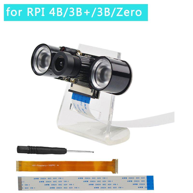 Raspberry Pi 4 modèle B caméra 5MP focale réglable caméra de Vision nocturne + support + lumières IR + câble FFC pour Raspberry Pi Zero W/3B +