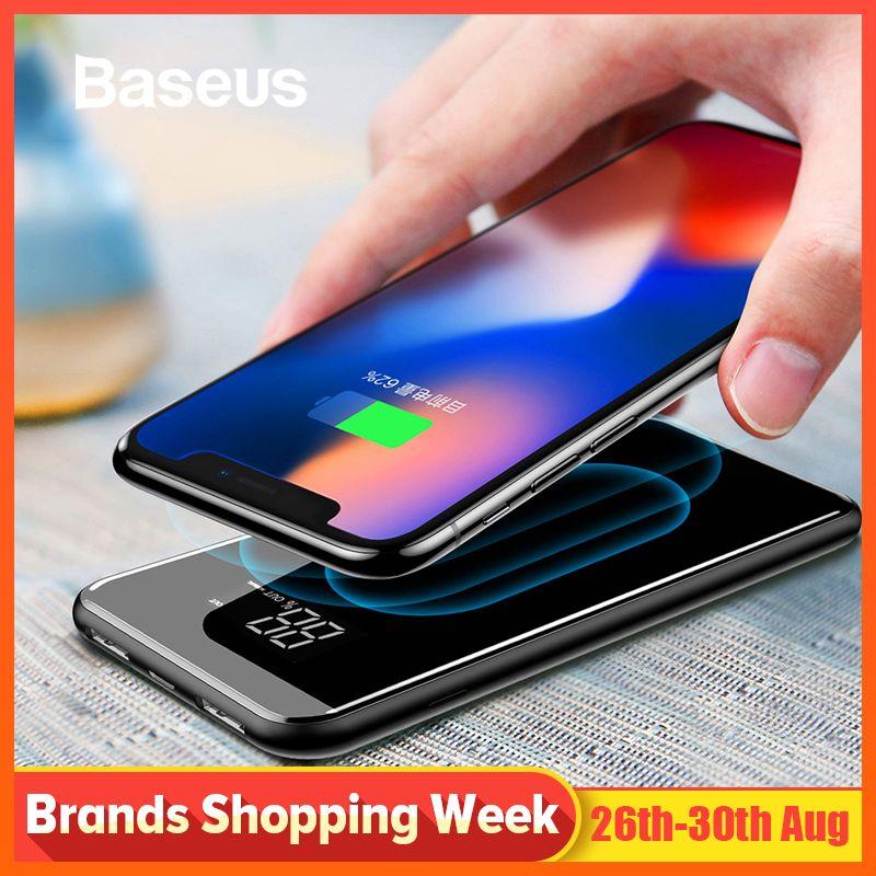 Chargeur sans fil Baseus 8000mAh QI batterie externe pour iPhone Samsung Powerbank double chargeur USB batterie externe sans fil