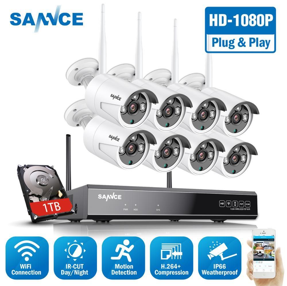 SANNCE 8CH 1080P Wi-fi CCTV Sicherheit Kamera System 8 stücke 2MP Drahtlose Wifi IP Kamera P2P Video Überwachung system Kit