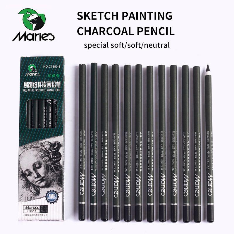 Marie's 12 pièces crayon de charbon de bois pour croquis peinture crayons dessin Lapiz ensemble papeterie fournitures d'art scolaire crayons pour les étudiants