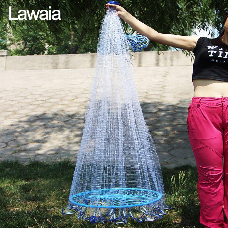 Lawaia facile jeter filet de pêche réseau outil diamètre 240 cm-480 cm Style américain filet de pêche petite maille extérieur